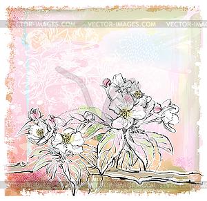 Skizze der Apfelbaum in voller Blüte - Stock-Clipart