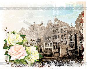 Jahrgang Amsterdamer Straße und Rosen. Aquarell-s - Vektor-Clipart / Vektor-Bild