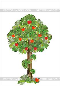 Раскраска дерево яблоня с яблоками