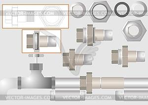 Eine Art von Rohrverbindungen - farbige Vektorgrafik