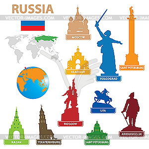 Symbols of cities in Russia - vector clip art