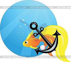 Goldfisch und Anker - Vektor-Clipart