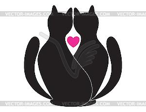 Verliebte Katzen - Vector-Abbildung