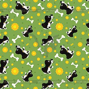 Nahtloses Muster von spielenden Hunden - vektorisiertes Design