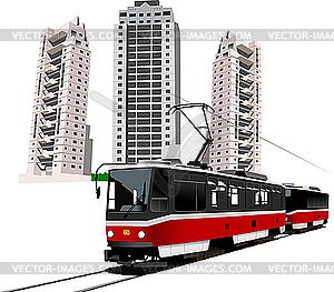 Schlafsaal und Straßenbahn. - Vektorgrafik-Design
