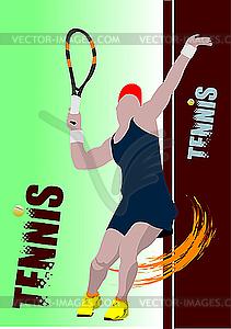 Plakat mit Tennis-Spielerin - Vektor-Skizze