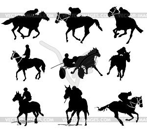Silhouetten von Reitern - Vektor-Illustration