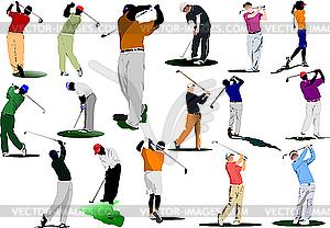 Sechzehn Golfer trifft Ball mit Eisen-Club. - Stock Vektor-Bild