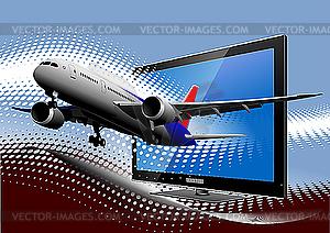 Linienflugzeug aus dem Monitor - Vektor-Klipart