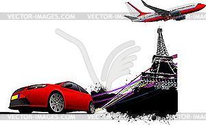 Auto und Flugzeug in Paris - vektorisierte Abbildung