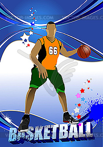 Plakat mit Basketball-Spieler - Vector-Illustration