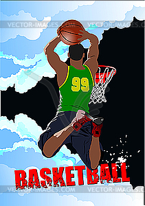 Plakat mit Basketball-Spieler - vektorisiertes Clipart