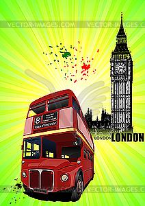London - Poster mit Doppeldecker-Bus - vektorisiertes Bild