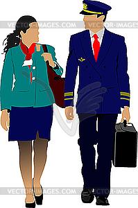 Pilot und Stewardess - Royalty-Free Clipart