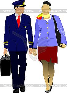 Pilot und Stewardess - Stock Vektor-Bild