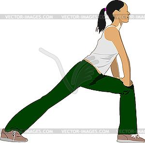 Frau tut Yoga-Übungen - vektorisiertes Clipart