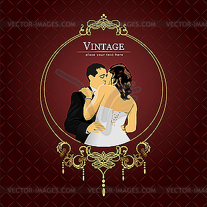 Hochzeits-Einladung Vintage-Karte - Stock-Clipart