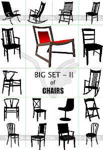 Große Reihe von zu Hause Stuhl Silhouetten. - Vektor-Abbildung