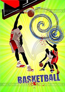 Plakat mit Basketball-Spieler - farbige Vektorgrafik