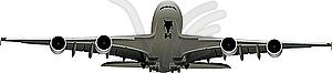 Flugzeug - schwarzweiße Vektorgrafik
