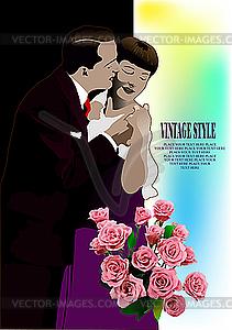 Küssendes Paar und Blumen - Vector-Clipart / Vektor-Bild