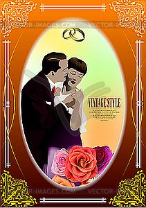 Hochzeits-Einladung Vintage-Karte - Vektor Clip Art