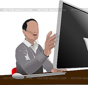 Schöner Mann sitzt vor dem Computer. - Stock Vektor-Bild