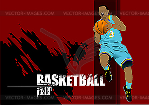 Plakat mit Basketball-Spieler - Vector-Design