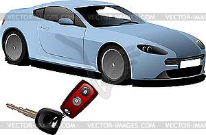 Blaues Auto und Zündung-Schlüssel - Vektor-Design