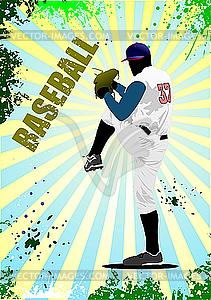 Plakat mit Baseball-Spieler - vektorisiertes Design
