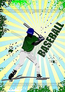 Plakat mit Baseball-Spieler - Clipart