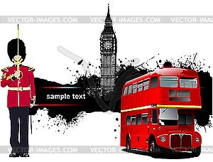 London, Grunge-Design mit einem Bus - vektorisiertes Clip-Art