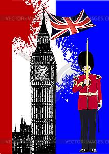 Big Ben und Flagge von Großbritannien - Vector-Bild