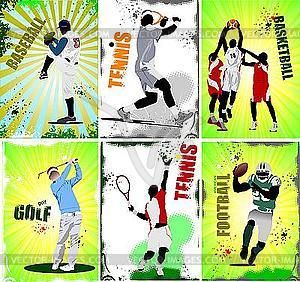 Sechs Sport-Poster - Vector-Clipart / Vektorgrafik