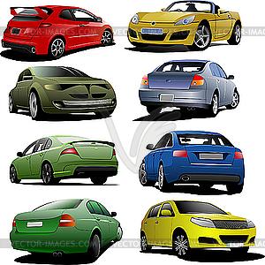 Acht Autos - Vektor-Klipart