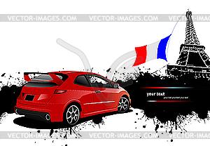 Rotes Auto in Paris mit Französisch Flagge - Vektor-Design