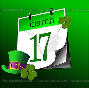 Kalender-Seite von St. Patrick `s Day. 17. März - Vektor-Design