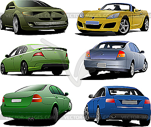Sechs Autos - Vector-Clipart