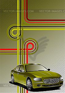 Poster mit Auto - Stock-Clipart