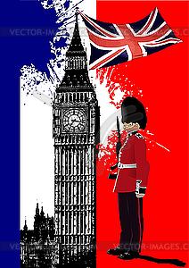 Poster mit Big Ben und Flagge von Großbritannien - Vektorgrafik-Design