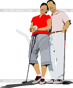 Paar Golfer in der Eisen-Club. - Vektorgrafik-Design