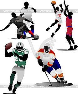 Vier Arten von Mannschaftssport-Spielen - Vektor-Clipart EPS
