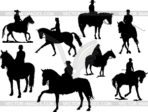 Acht Reiter-Silhouetten - Royalty-Free Clipart