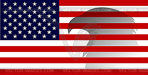 Amerikanische Flagge mit Adler - Stock Vektor-Bild