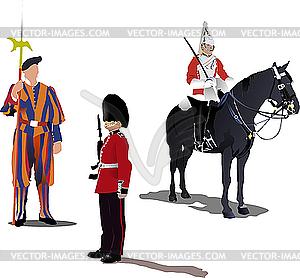 Drei Wachen auf dem Pferd - farbige Vektorgrafik