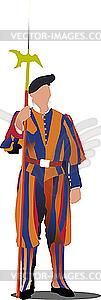 Schweizer Garde im Vatikan. - vektorisierte Abbildung