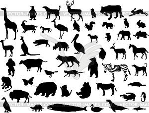 Set von tierischen Silhouetten. - Stock-Clipart