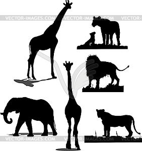 Afrikanische Tier-Silhouetten - Vektor-Clipart EPS