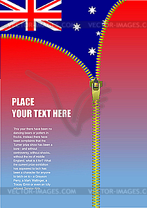 Reißverschluss zu öffnen Australien Flagge - Vektorgrafik-Design