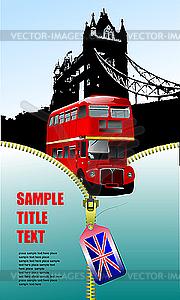 Poster mit Reißverschluss und Doppeldecker-Bus - vektorisierte Abbildung